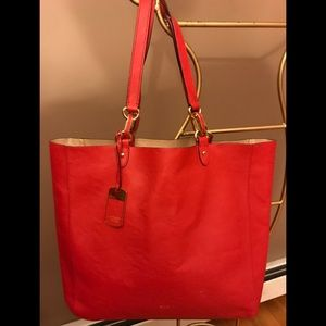 Ralph Lauren Red Leather Tote.
